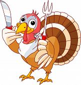 Thanksgiving Turkey with knife and fork. Isolated on a white background. poster