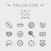 Sports thin line icon set for web and mobile. Set includes- volleyball, basketball, hockey puck, tennis, soccer, football, trophy, helmet icons. Modern minimalistic flat design. Vector dark grey icon poster