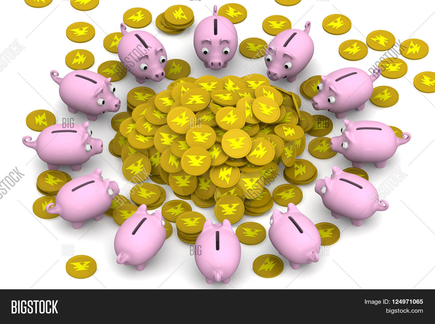 Pink Piggy Banks Surrounded The Pile Of Gold Coins With Symbol