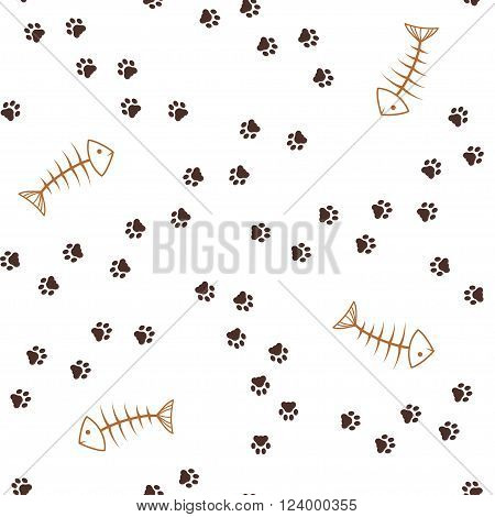 Cat theme seamless pattern with animal paw footprints paths and fish bones
