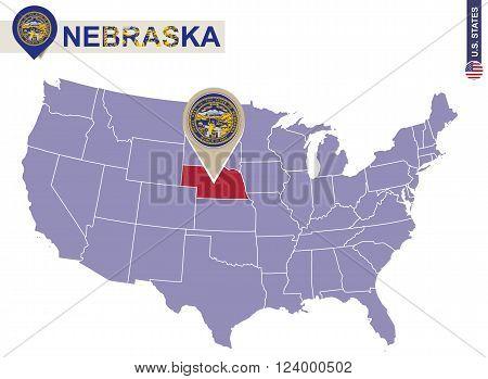 Nebraska State On Usa Map. Nebraska Flag And Map.