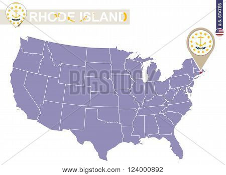 Rhode Island State On Usa Map. Rhode Island Flag And Map.