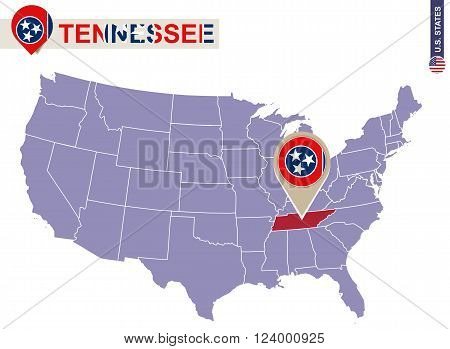 Tennessee State On Usa Map. Tennessee Flag And Map.