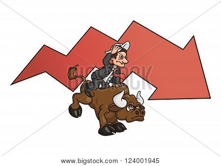 Illustration of the businessman trying to stay on bull symbolizing risk in business