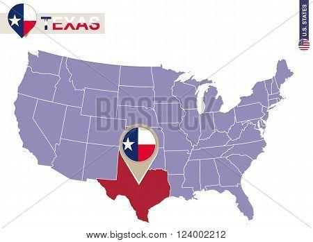 Texas State On Usa Map. Texas Flag And Map.