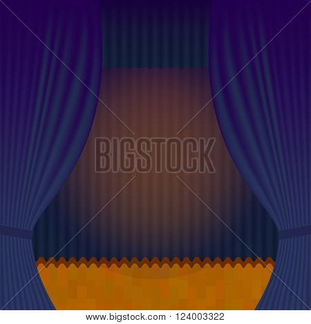 Curtain Theatre reopening. Vector background for invitations, announcements of events and exhibitions