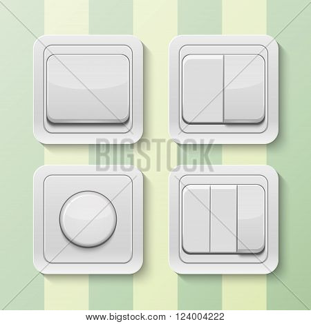 Set of realistic vector switches isolated on white . Vector EPS10 illustration.