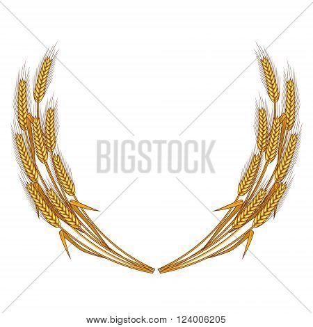 Wheat wreath isolated on white background. Wheat icon. Wheat logo template. Vector design element.