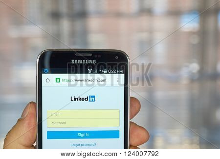 MONTREAL CANADA - MARCH 20 2016 - Linkedin application on android smartphone. Linkedin is a business-oriented social networking service.