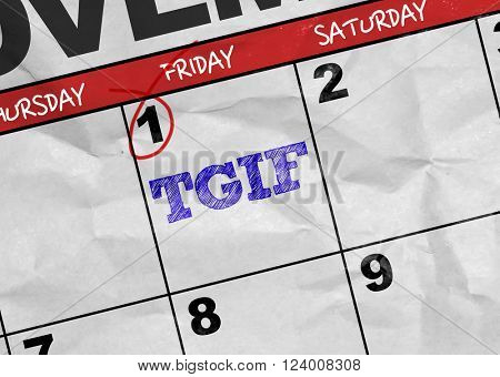 Concept image of a Calendar with the text: TGIF