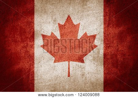 flag of Canada or Canadian banner on rough pattern background