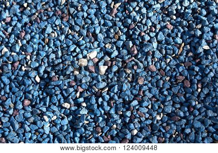Blue Painted Stone Pile.
