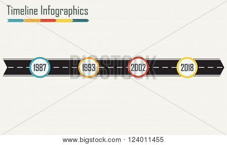 Timeline Infographics template with arrow from asphalt road. Horizontal design elements. Colorful vector illustration.