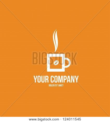 Vector company logo icon element template coffee cup hot bean flat drink