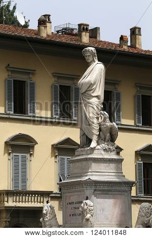 Statue of Dante Alighieri located in the Piazza di Santa Croce in Florence Italy