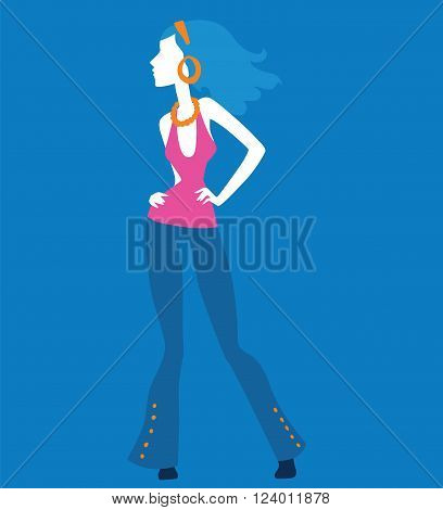 Fashion model girls vector illustration. Fashion model girls isolated on white background. Fashion model girls vector icon illustration. Fashion model girls isolated vector. Girls silhouette