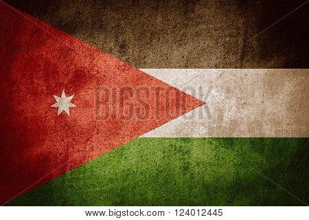 flag of Jordan or Jordanian banner on rough pattern background