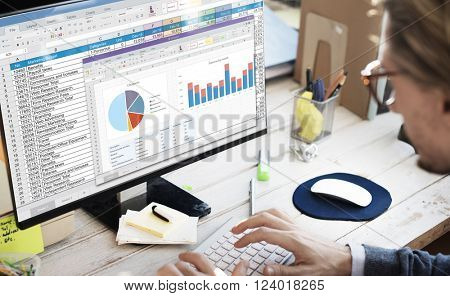 Spreadsheet Document Financial Report Concept