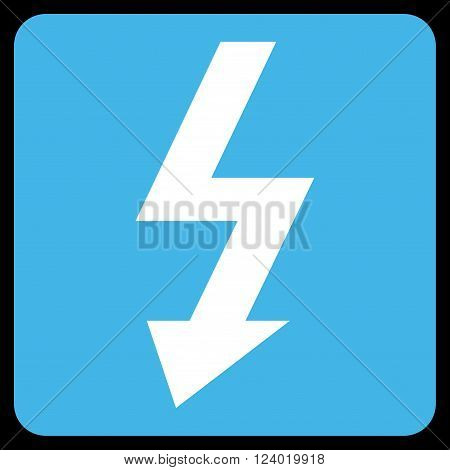 High Voltage vector icon. Image style is bicolor flat high voltage icon symbol drawn on a rounded square with blue and white colors.