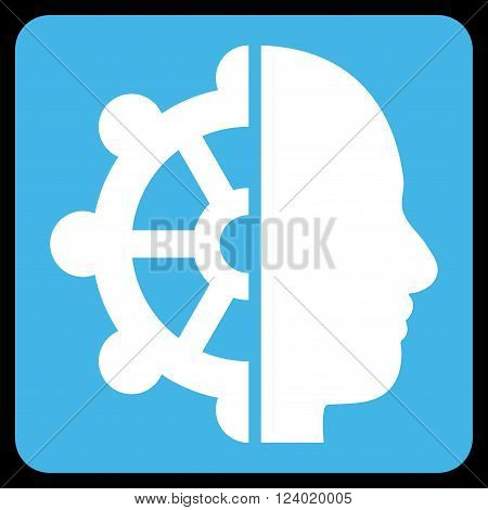 Intellect vector pictogram. Image style is bicolor flat intellect iconic symbol drawn on a rounded square with blue and white colors.