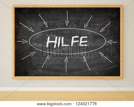 Hilfe - german word for help - 3d render illustration of text on black chalkboard in a room.