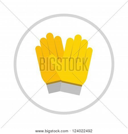 yellow gloves, hand protection isolated on white background. Gloves safety on white background. Yellow glove. Gloves leather sportswear. Hand protection yellow glove.