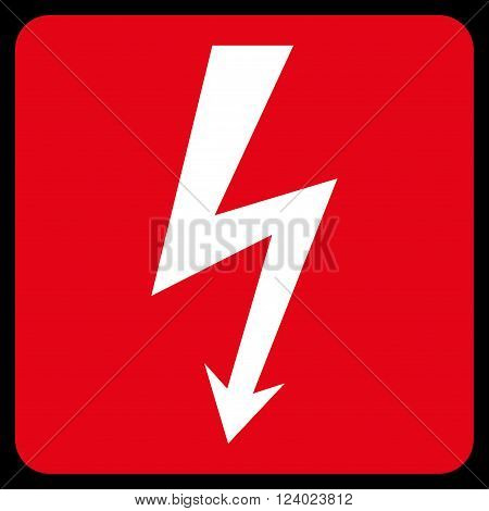High Voltage vector icon. Image style is bicolor flat high voltage pictogram symbol drawn on a rounded square with red and white colors.