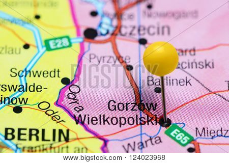 Photo of pinned Gorzow Wielkopolski on a map of Poland. May be used as illustration for traveling theme.
