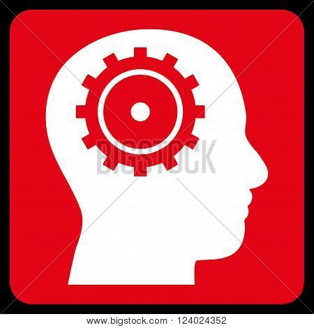 Intellect vector pictogram. Image style is bicolor flat intellect icon symbol drawn on a rounded square with red and white colors.