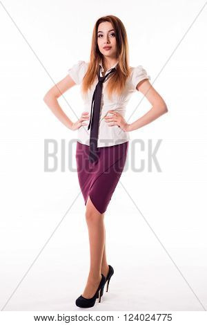beautiful office woman staying and lovely smiling