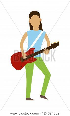 Musician people flat illustration. Musician cartoon characters with guitar isolated on white background. Musician guitarist people icons. Musician people rock guitar cartoon style.