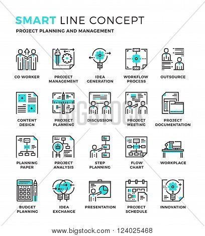 Set of modern thin line icon collection concept of Project Planning, Management,Work process,Financial, Development. Pixel perfect icon design for Web Graphic , Mobile app ,Vector Design illustration.