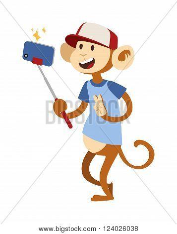 Selfie monkey vector illustration. Selfie monkey isolated on white background. Selfie monkey funny style. Selfie monkey isolated vector. Selfie monkey silhouette