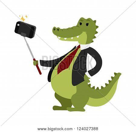 Selfie crocodile vector illustration. Selfie crocodile isolated on white background. Selfie crocodile vector icon illustration. Selfie crocodile isolated vector. Selfie crocodile silhouette