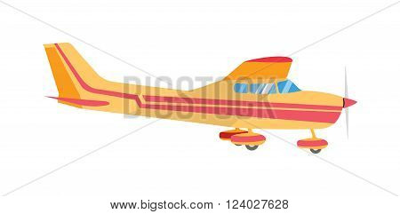 Light aircraft single propeller. light aircraft on isolated white background. Light aircraft transportation. Light aircraft easy passenger transport