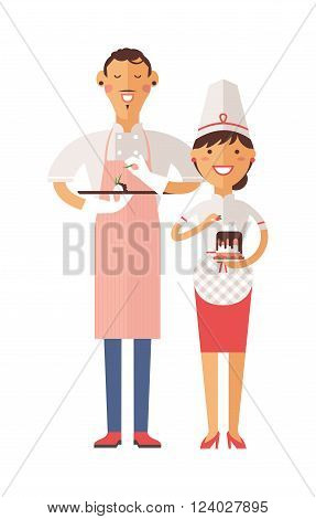 Smiling confectioners holding plate with cake. Vector portrait of chef confectioners in uniform with cream cakes. Cute confectioners chefs in hat and cake. Cake chef, confectioners chefs