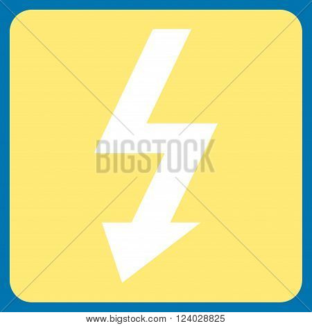 High Voltage vector symbol. Image style is bicolor flat high voltage icon symbol drawn on a rounded square with yellow and white colors.