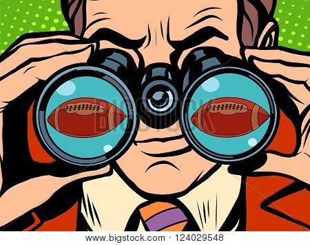 The man is watching American football pop art retro style. Hunger and food. Man looking through binoculars. A sports ball. Sporting goods