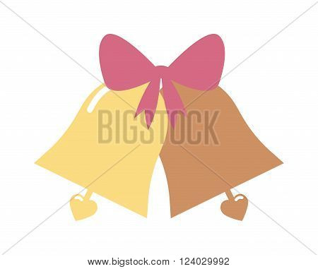 Vector illustration of a elegant gold color wedding bells with hearts isolated on white background. Wedding Bells symbol. Wedding Bells love decoration. Wedding Bells with ribbon.