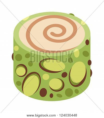 Eastern sweets vector. Turkish baklava sweet made with honey and pistachio nuts. Eastern sweets made with honey. Eastern sweets traditional arabic food isolated on white background.