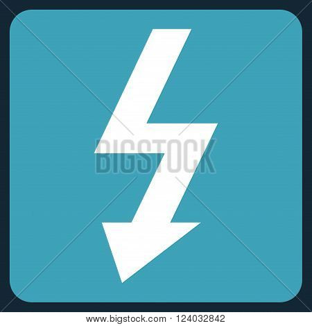 High Voltage vector symbol. Image style is bicolor flat high voltage iconic symbol drawn on a rounded square with blue and white colors.