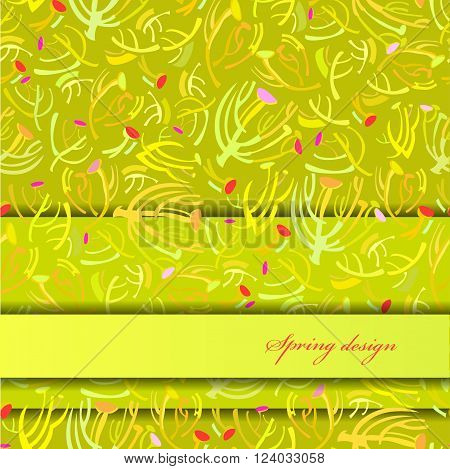 Abstract spring summer floral background. Green yellow spring twigs elegant ornament green background. Horizontal border rapport sprig pattern design Wrapping paper, textile fabric vector illustration