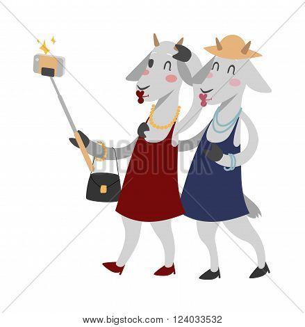 Goat girls couple friends vector portrait illustration on white background. Goat girls. Selfie goat woman shopping sale girls Goat animal shopping. Goats couple friends fashion-monger show. Goats icon