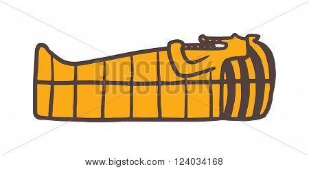 Pharaoh sarcophagus vector. Pharaoh sarcophagus illustration. Pharaoh sarcophagus isolated on white. Pharaoh sarcophagus icon. Pharaoh sarcophagus flat style. Pharaoh sarcophagus silhouette. Pharaoh sarcophagus cartoon style