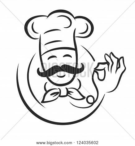 vector black chef icon on white background