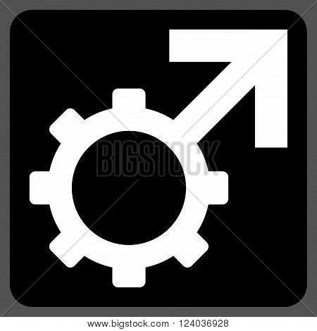 Technological Potence vector icon. Image style is bicolor flat technological potence icon symbol drawn on a rounded square with black and white colors.