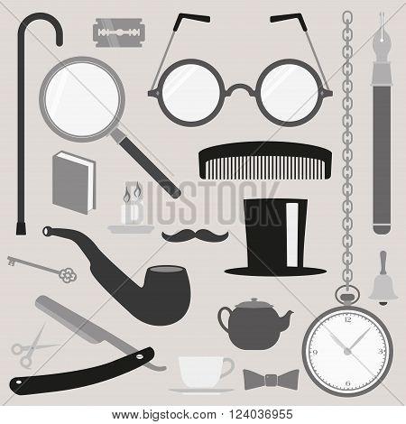 Gentlemen vintage stuff design elements collection vector set