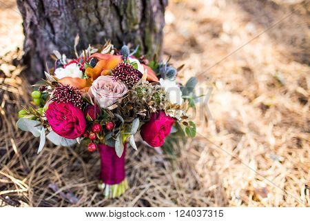 Marsala Wedding Bouquet With Red Rose With Cope Space