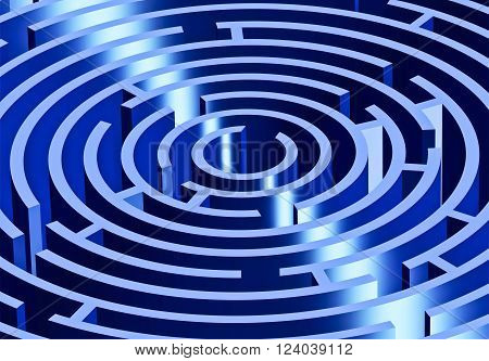 A close up of a blue maze shown in perspective view