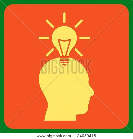Genius Bulb vector icon. Image style is bicolor flat genius bulb pictogram symbol drawn on a rounded square with orange and yellow colors.